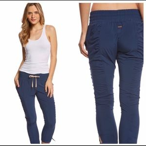 PRANA Blue Ruched Bindu Pants Size L